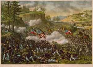 The Battle of Chickamauga (1890), lithograph by Kurz and Allison.