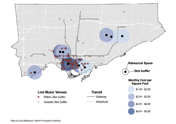 Map of music venues and rehearsal spaces in Toronto from a report published by the Martin Institute in 2011.