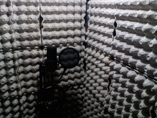 Home studio that uses egg cartons to reduce noise...not that you'd need to go that far.